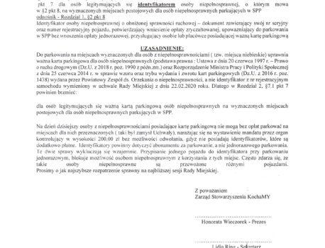 28.02.2020 roku złożenie pisma do Burmistrza i Radnych Gminy Nowy Tomyśl