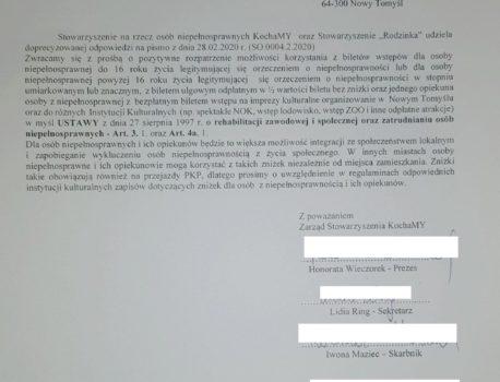 10.03.2020 r. złożenie pisma do Burmistrza